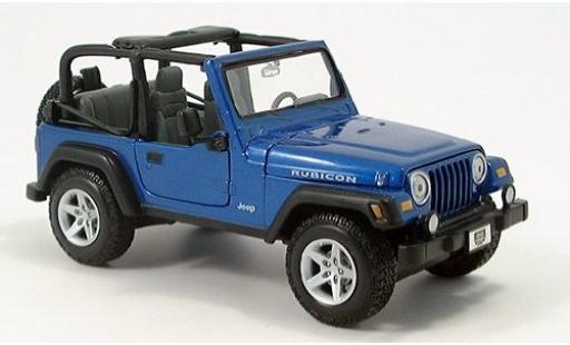 Jeep Wrangler 1/24 Maisto Rubicon metallise bleue sans Vitrine miniature
