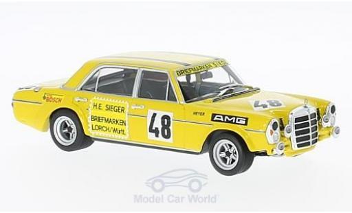 Mercedes 300 TE 1/43 Minichamps SEL 6.8 AMG No.48 Briefmarken Sieger Test Le Mans 1972 H.Heyer miniature