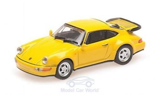 Porsche 911 1/87 Minichamps (964) Turbo jaune 1990 miniature