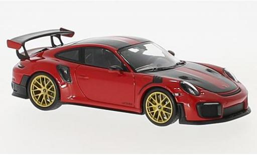 Porsche 991 GT2 RS 1/43 Minichamps 911 (.2) GT2RS red/carbon 2018 Weissachpaket diecast model cars