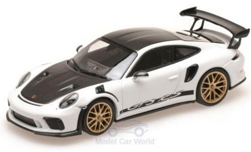 Porsche 991 GT3 RS 1/43 Minichamps 911 (.2) white/carbon 2018 mit Weissach Paket diecast model cars