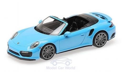 Porsche 991 Turbo S 1/43 Minichamps 911 (.2) Cabriolet bleue 2016 miniature