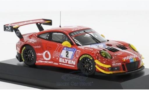 Porsche 911 1/43 Minichamps (991) GT3 R No.2 Gigaspeed Team 24h Nürburgring 2018 S.Jans/M.Böckmann/J-E.Slooten/L.Luhr miniatura