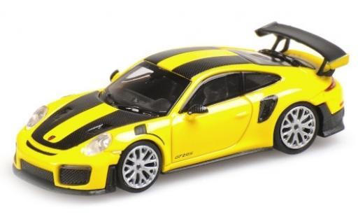 Porsche 991 GT2 RS 1/87 Minichamps 911 yellow 2018 avec Carbon-Streifen diecast model cars