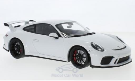 Porsche 991 GT3 1/18 Minichamps 911 metallise blanche 2017 miniature