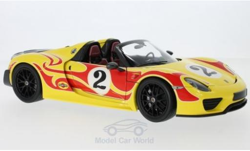 Porsche 918 1/18 Minichamps Spyder jaune/rouge Weissach-Package No.2 2015 Weissach Package miniature
