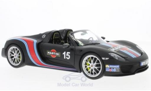Porsche 918 2013 1/18 Minichamps Spyder matt-noire Martini Weissach-Package miniature