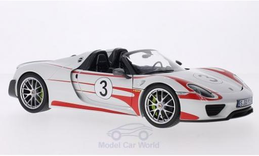 Porsche 918 2013 1/18 Minichamps Spyder white/Dekor 2013 Weissach Package No.3 Salzburg diecast