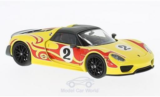 Porsche 918 1/43 Minichamps Spyder Weissach Package jaune/rouge 2015 Kyalami Racing Design miniature