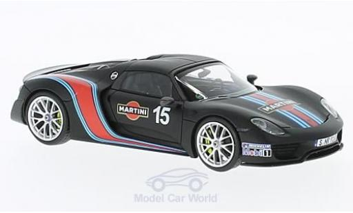 Porsche 918 2013 1/43 Minichamps Spyder Weissach-Package matt-noire Martini miniature