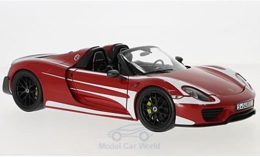 Porsche 918 1/18 Minichamps Spyder Weissach Package rouge/blanche 2015