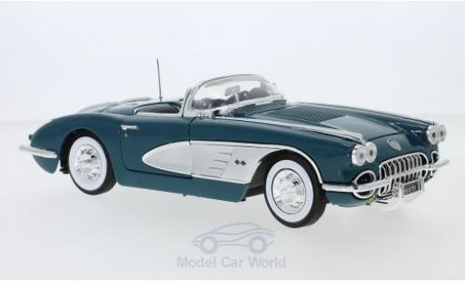 Chevrolet Corvette 1/18 Motormax C1 turquoise/grise 1958 miniature