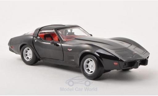 Chevrolet Corvette 1/24 Motormax schwarz 1979 ohne Vitrine modellautos