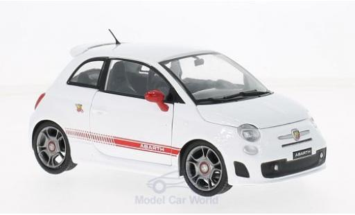 Fiat 500 F 1/24 Motormax Abarth white/red 2008 diecast