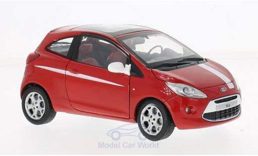 Ford Ka 1/24 Motormax rouge/blanche miniature