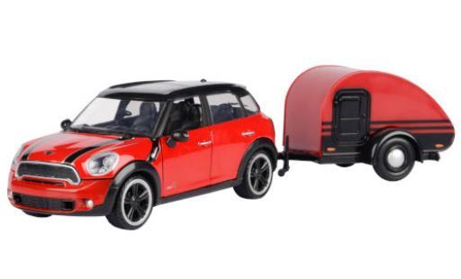 Mini Cooper 1/24 Motormax S Countryman rouge/noire avec caravane miniature