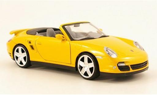 Porsche 997 Turbo 1/24 Motormax 911  Cabriolet metallise yellow diecast model cars