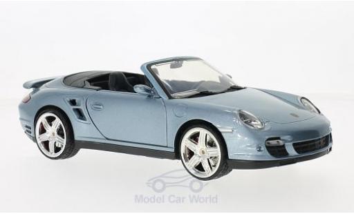 Porsche 997 Turbo 1/18 Motormax 911  Cabriolet metallise blue diecast model cars