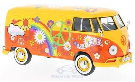Volkswagen T1 B 1/24 Motormax yellow/Dekor Flower Power diecast model cars