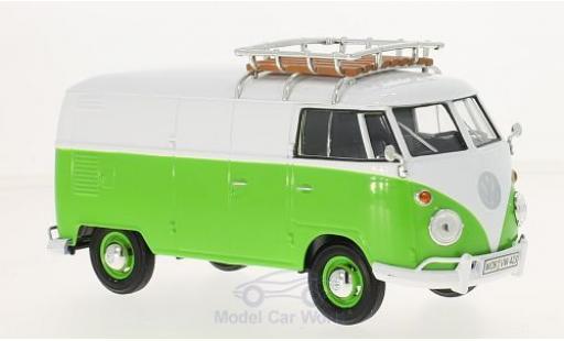 Volkswagen T1 A 1/24 Motormax grün/weiss Kastenwagen mit Dachgepäckträger modellautos