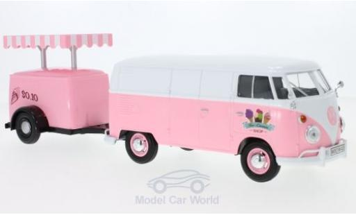 Volkswagen T1 A 1/24 Motormax Kastenwagen pink/white Kastenwagen mit Kühlanhänger diecast
