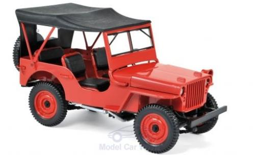 Jeep Willys 1/18 Norev rouge 1942 miniature