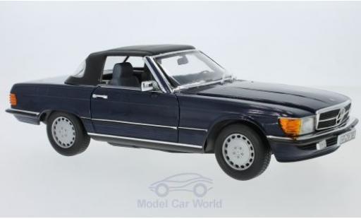 Mercedes 300 SL 1/18 Norev SL (R 107) metallic-dunkelbleue 1986 Verdeck liegt ein miniature