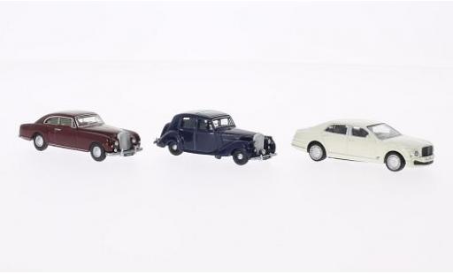 Bentley 3 1/76 Oxford er-Set: MkVI - dkl.-bleue Continental - dkl.-rouge Mulsanne - blanche bleue/rouge miniature