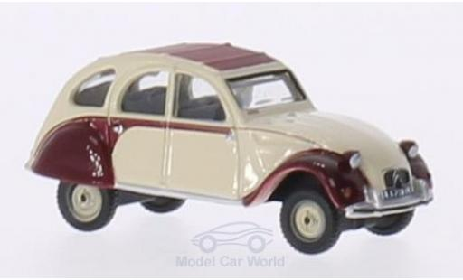 Citroen 2CV 1/76 Oxford Dolly rouge/beige RHD miniature
