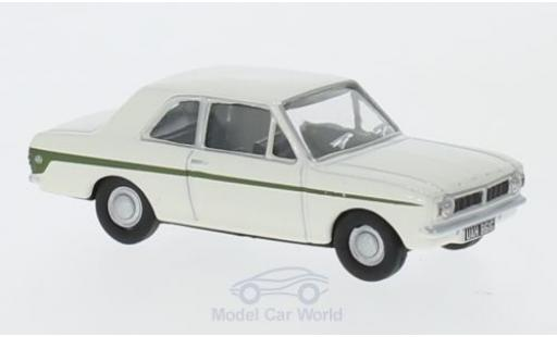 Ford Cortina 1/76 Oxford MK2 blanche/verte RHD miniature