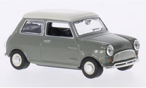 Mini Cooper 1/43 Oxford grise/blanche RHD miniature