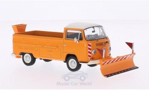 Volkswagen T2 A 1/43 Premium ClassiXXs a Pritsche orange/blanche Winterdienst mit Räumschild und Salzstreuer miniature