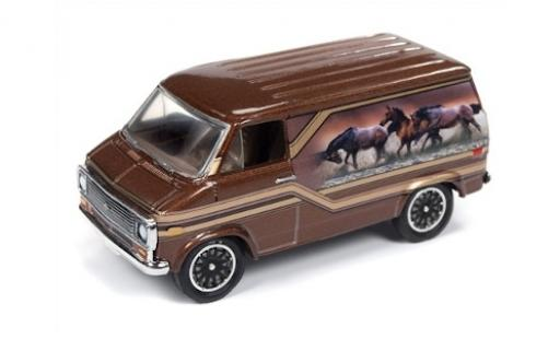 Chevrolet Van 1/64 Racing Champions Mint metallise marron/Dekor 1975 miniature