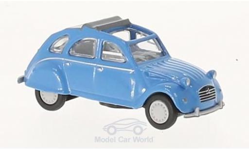 Citroen 2CV 1/87 Schuco 2 CV blu mit geöffnetem Verdeck modellino in miniatura