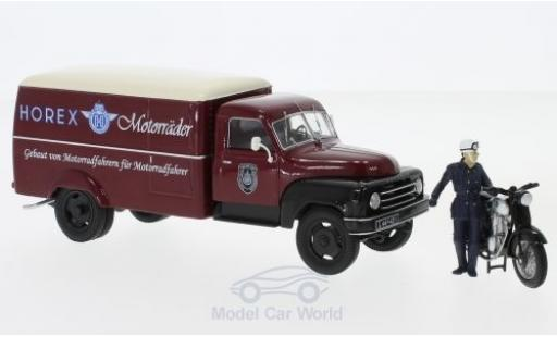 Hanomag L28 1/43 Schuco rouge/beige Horex mit Horex Regina und Fahrerfigur miniature