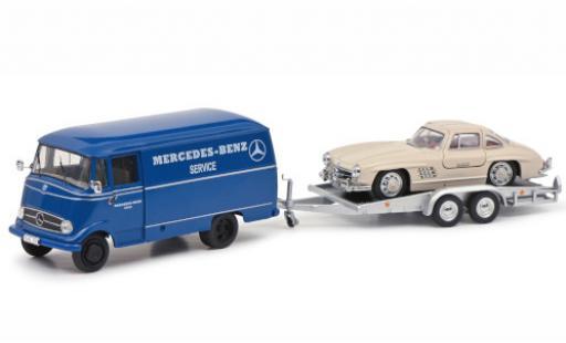Mercedes L319 1/43 Schuco Benz Service avec Remorque de voiture et 300 SL miniature