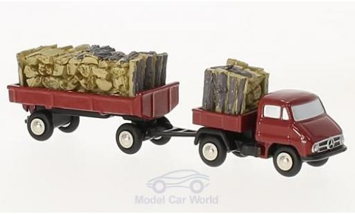 Mercedes Unimog 1/90 Schuco U411 rouge mit Anhänger und Holzbeladung miniature