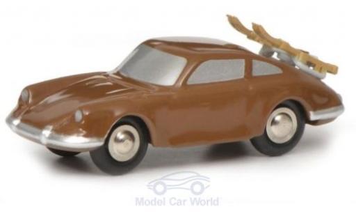 Porsche 911 1/90 Schuco marron mit Skiträger miniature
