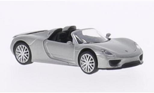 Porsche 918 1/87 Schuco Spyder metallise grise miniature