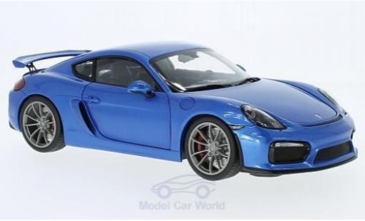 Porsche Cayman GT4 1/18 Schuco metallise bleue miniature