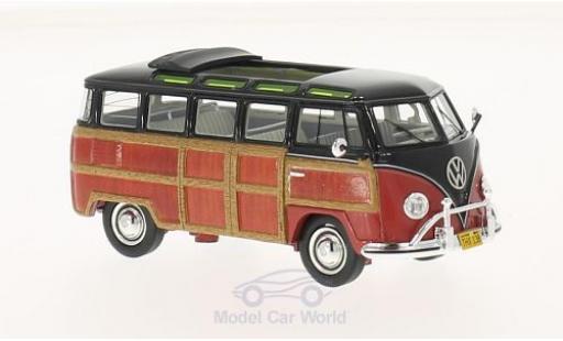 Volkswagen T1 B 1/43 Schuco ProR Samba schwarz/Holzoptik Woody modellautos