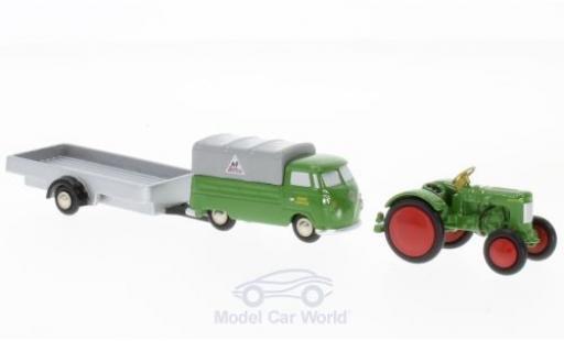 Volkswagen T1 A 1/90 Schuco grün Fendt Service Pritsche mit Anhänger und Traktor miniature