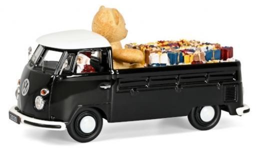 Volkswagen T1 1/43 Schuco Pritsche schwarz/weiss Christmas Edition 2020 avec charge et figurine de conducteur modellautos
