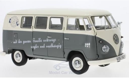Volkswagen T1 B 1/18 Schuco b Bus mit Slogan: mit der ganzen Familien unterwegs-sorglos und unabhängig diecast
