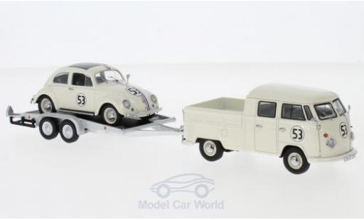 Volkswagen T1 B 1/43 Schuco b beige/Dekor mit Anhänger und Käfer diecast model cars