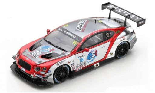 Bentley Continental 1/43 Spark GT3 RHD No.18 AAS Motorsport Thailand Super Series 2018 L.Vutthikorn/K.Kantadhee diecast model cars