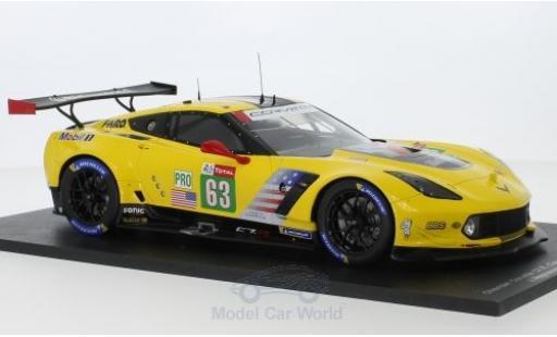 Chevrolet Corvette 1/18 Spark C7.R No.63 Racing 24h Le Mans 2018 J.Magnussen/A.Garcia/M.Rockenfeller diecast