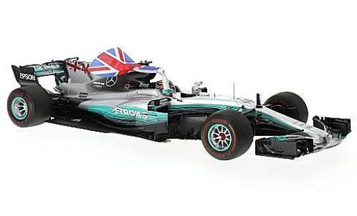 Mercedes F1 1/18 Spark W08 EQ Power+ No.44 AMG Petronas Team Formel 1 GP Mexico 2017 avec figurine et britische drapeau L.Hamilton miniature