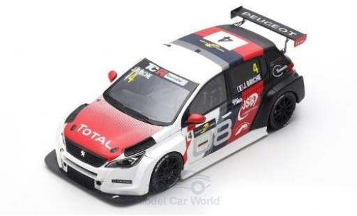 Peugeot 308 1/43 Spark TCR No.4 TCR Europe Spa-Francorchamps 2018 J.Briche modellino in miniatura