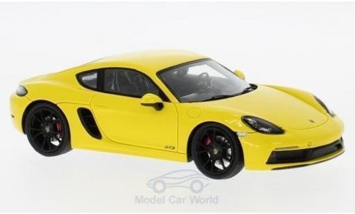 Porsche Cayman 1/43 Spark 718 GTS jaune 2018 miniature